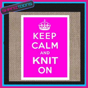KEEP CALM AND KNIT ON JUTE  SHOPPING GIFT BAG KNITTING